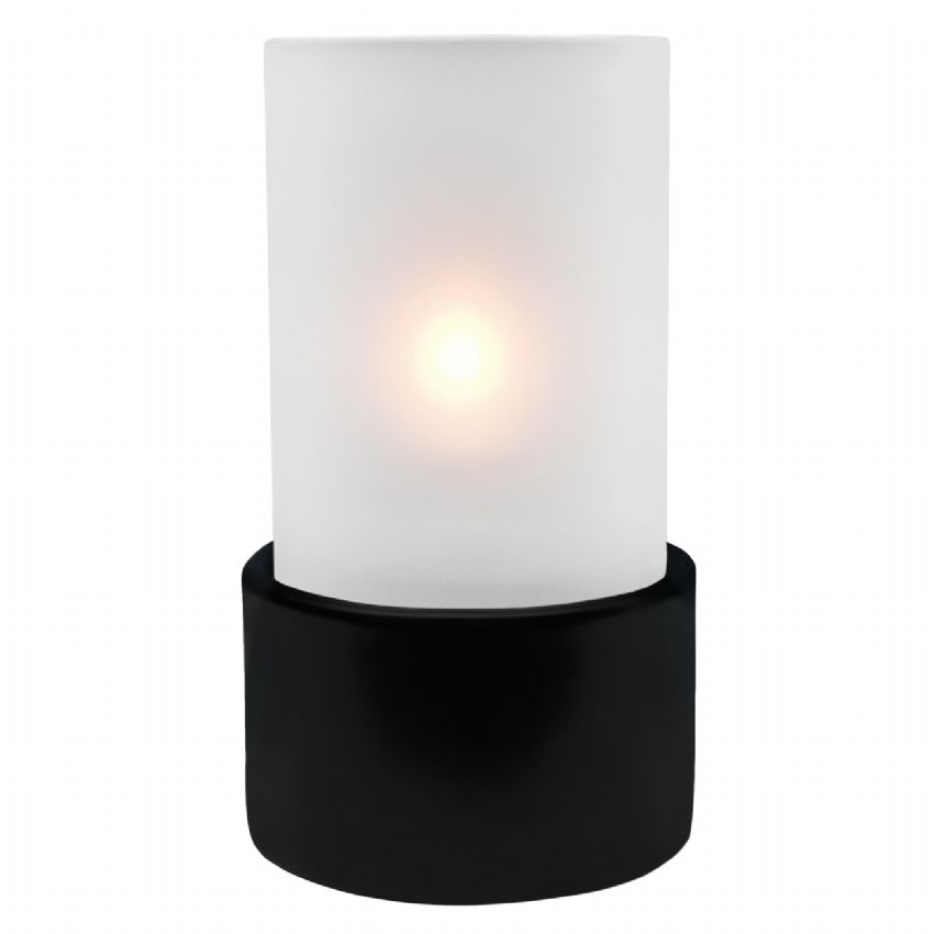 Frosted Glass, Black Base & Refill - Complete Liquid Wax Lantern - Unscented Candle Alternative